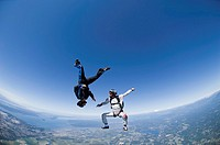 Two skydivers freefalling