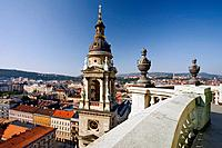Hungary, Budapest, St. Stephen´s Basilica overlooking city