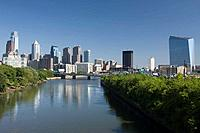 Tall buildings downtown skyline river schuylkill  Philadelphia  Pennsylvania  USA