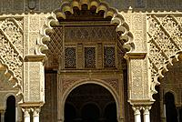 Detail of the Patio de las Doncellas, Reales Alcazares, Sevilla. Andalusia, Spain