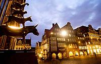 Statue of the Town Musicians of Bremen in Marktplatz, Bremen. Germany