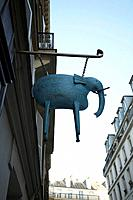 Elephant on sign, Paris, France