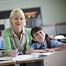 Female teacher explaining to student