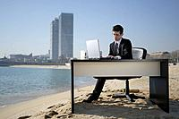 Business woman in beachfront office