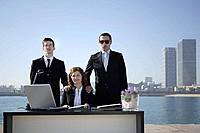 Business team in outdoor office