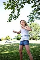 Girl with hula-hoop (thumbnail)