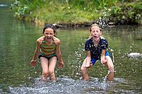 Girls playing in water