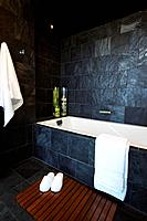 Bathroom tiled in slate