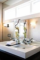 Contemporary bathroom with double sinks