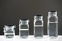 Clear liquid in jars
