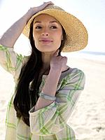 Woman wearing sun hat