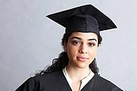 Woman wearing a graduation gown