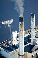 USA, Massachusetts, Somerset, power plant smoke stacks