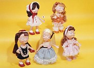 Dolls with their eyes closed