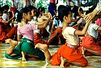 Children learning the temple dance, Royal Academy of Performing, Phnom Penh, Cambodia, Indochina, Asia