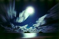 Fullmoon over the sea, Lanikai, Hawaii, USA, America
