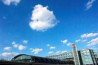 Berlin Central Railway Station with cloud formation, Berlin, Germany