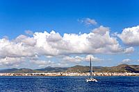 Coastline, Platja den Bossa, Ibiza, Balearic Islands, Spain