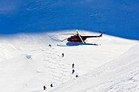 Heliskiing Kamchatka, Sibiria, Russia, a group of skiers