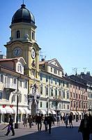 City tower with harbour gate Gradski toranj, Korzo, Rijeka, Istria, Croatia