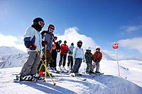 Children and adults on slope, Stuben, Arlberg, Tyrol, Austria