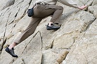 A person rock climbing