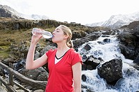 A woman drinking water