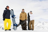 Portrait of friends with snowboards