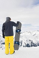 Rear view of a snowboarder