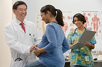 A doctor examining a pregnant woman