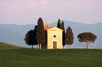 Chapel Vitaleta, Cypress, Italian Cypress, Cupressus sempervirens, cypresses, hill countryside, agricultural landscape, spring, Val d´ Orcia, Tuscany,...