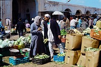 Bengazi Libya People At Market Fruit & Vegetables