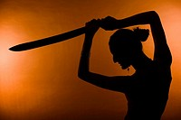 silhouette of woman with a sward