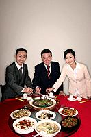 Business people eating together