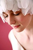 Woman with feathers on her head (thumbnail)