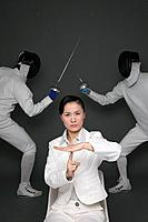 Businesswoman showing time out with men dueling in the background (thumbnail)