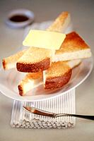 Slices of toast bread with butter