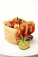 Fried kuey teow noodle in a crispy wheat flour wrap (thumbnail)