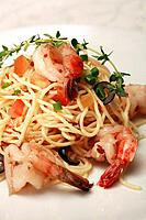 Plate of shrimp pasta