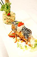 Sesame salmon with special fried rice