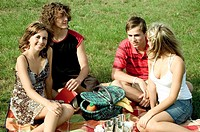 young people having a picnic