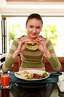 Woman enjoying her meal