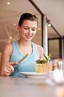 Woman having lunch in a restaurant