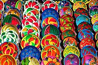 Colourful plates and bowls for sale, Chichen Itza Archaeological Site, Chichen Itza, Yucatan State, Mexico Date: 02 04 2008 Ref: ZB362_111809_0130 COM...