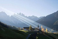 Village surrounded with mountains, St. Magdalena, Funes Valley, Dolomites, Trentino_Alto Adige, Italy