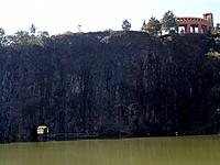 curitiba tangua park lake and rocks wall building