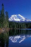 Reflection of mountain in water, Mt Adams, Takhlakh Lake, Gifford Pinchot National Forest, Washington State, USA