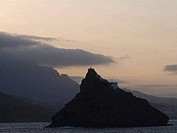 Silhouette of a mountain in the sea, Sao Vicente Island, Mindelo, Cape Verde