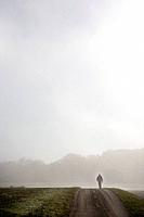 Man on road surrounded by fog