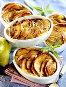 French toast with pears au gratin